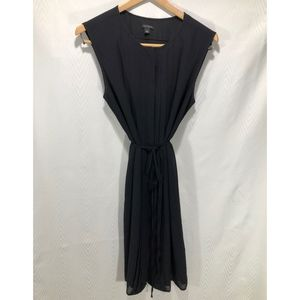 Ann Taylor Pleated Black Dress with Tie at Waist.